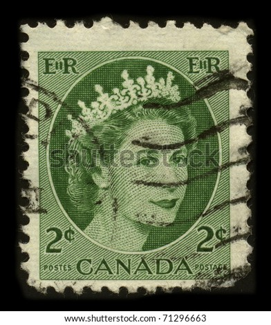 CANADA - CIRCA 1980: An Canadian Used First Class Postage Stamp printed in Canada showing Portrait of Queen Elizabeth in green, circa 1980. - stock photo