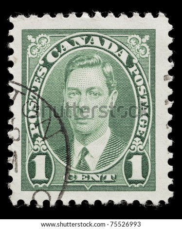 CANADA - CIRCA 1937: George VI of the United Kingdom on an Canadian stamp circa 1937 in Canada