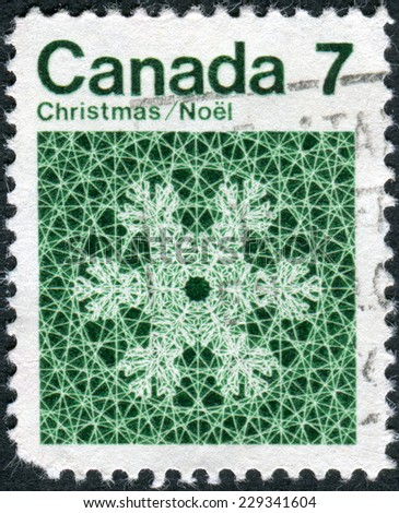 CANADA - CIRCA 1971: Postage stamp printed in Canada, Christmas issue, shows Snowflake, circa 1971