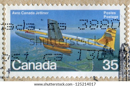 CANADA- CIRCA 1981: Postage stamp printed in Canada shows a Avro Canada C-102 Jetliner. Scott Catalog 905 A436, circa 1981