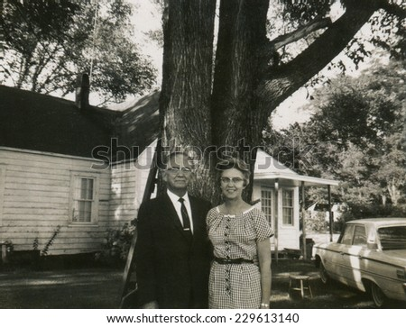 CANADA - CIRCA 1950s: Vintage photo shows portrait of an elderly couple. - stock photo