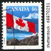 CANADA - CIRCA 1987: stamp printed by Canada, shows Canadian flag, circa 1987 - stock photo