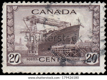 CANADA - CIRCA 1942: stamp printed by Canada, shows Corvette, circa 1942