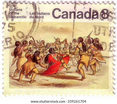 CANADA - CIRCA 1975: stamp printed by Canada, shows Subarctic Indians, circa 1975 - stock photo
