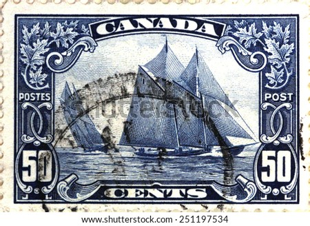 CANADA - CIRCA 1907: stamp printed by Canada, shows yacht, circa 1907 - stock photo