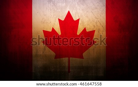 canada country flag with dark grunge wall texture background.