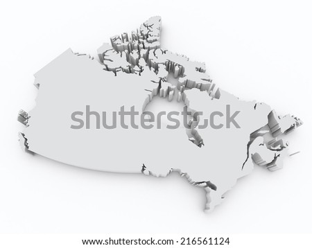 Canada 3d map - stock photo