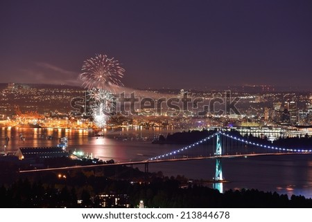 Canada Day celebration fireworks in Downtown Vancouver - stock photo
