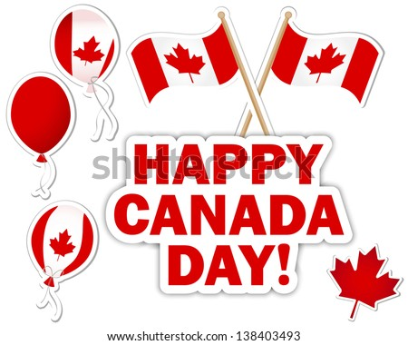 Canada Day stickers with a maple leaves, balloons and flags. Raster version.