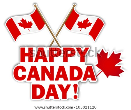 Canada Day stickers with maple leaf and flags. Raster version. - stock photo