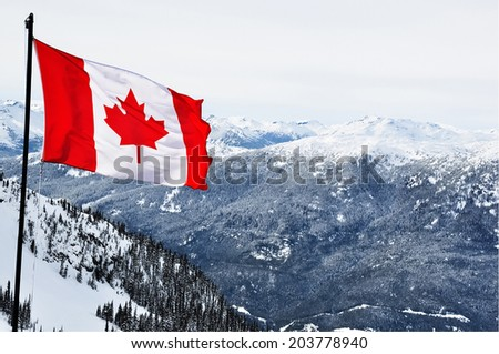 Canada flag and beautiful winter landscapes - stock photo