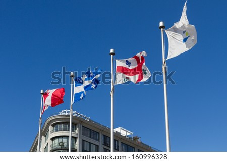 Canada Flag at Montreal , Canada - stock photo