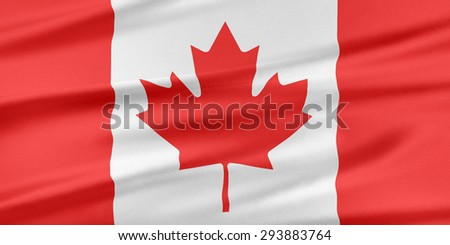 Canada Flag. Flag with a beautiful glossy silk texture. - stock photo