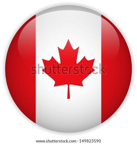 Canada Flag Glossy Button - stock photo