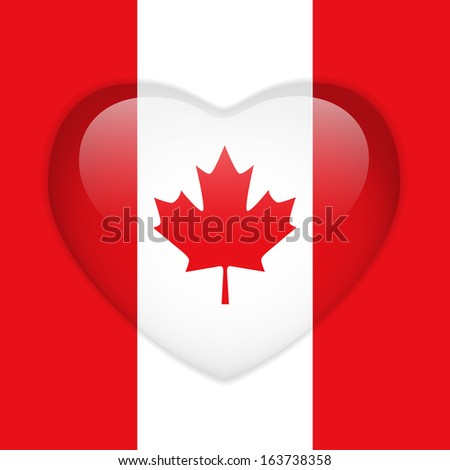 Canada Flag Heart Glossy Button - stock photo