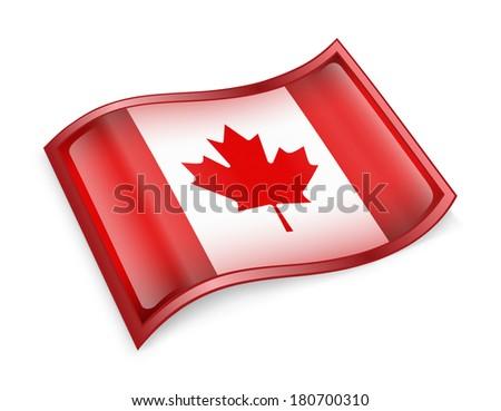Canada Flag Icon, isolated on white background - stock photo