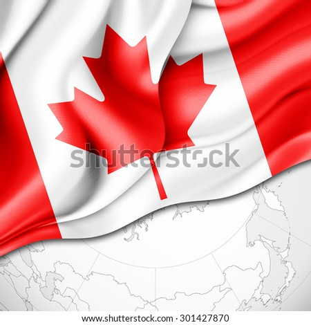 Canada. flag of silk and world map background - stock photo