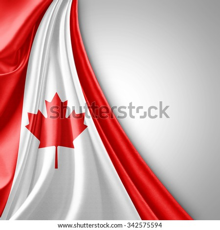 Canada  flag of silk  with copyspace for your text or images   - stock photo