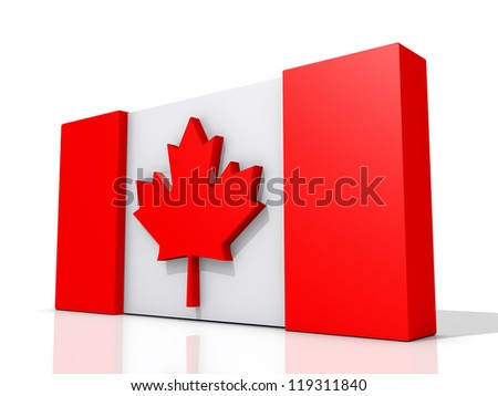 Canada Flag on a shiny white background. - stock photo
