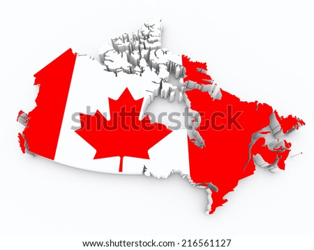 Canada flag on 3d map