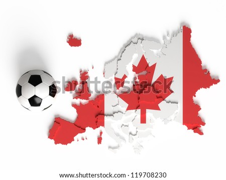 Canada flag on European map with national borders, isolated on white background - stock photo