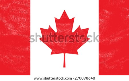 Canada flag on leather texture - world flag textured - stock photo