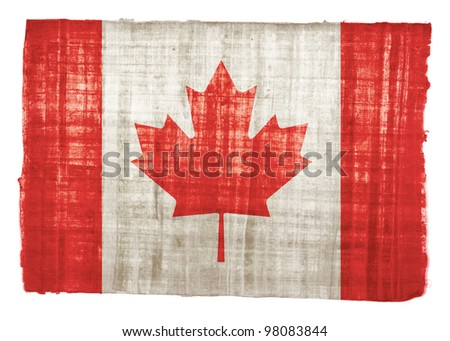 Canada flag on original papyrus background - stock photo