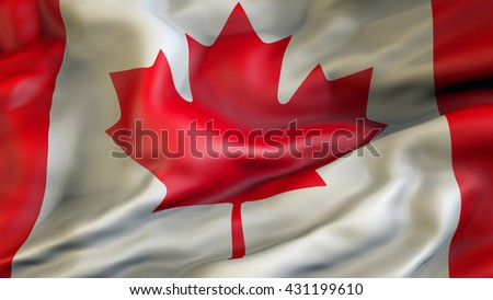 Canada flag waving in the wind 3d rendering - stock photo
