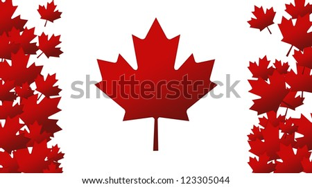 Canada Flag with Red Maple Leaves - stock photo