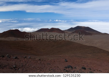 Canada-France-Hawaii Observatory ; extinct volcanic craters in background - stock photo
