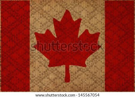 Canada grunge canvas flag - stock photo