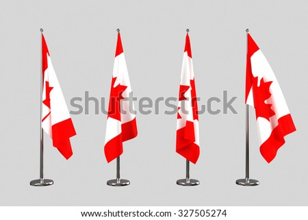 Canada indoor flags isolate on white background