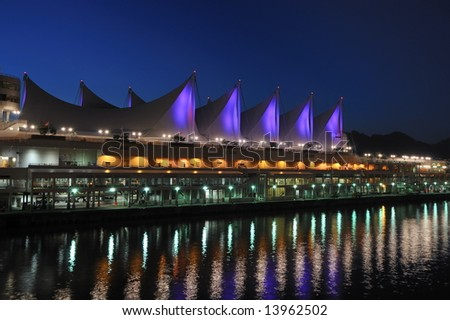 Canada Place at night, Vancouver, Canada - stock photo