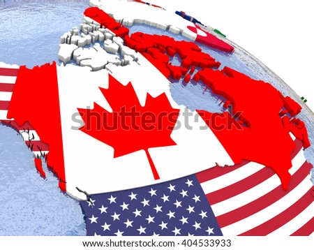 canada political map of canada and surrounding region with each country represented by its national