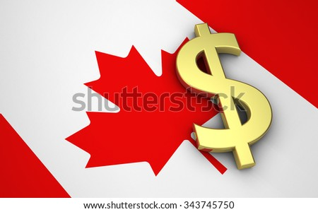 Canada's economy concept with canadian flag and money dollar currency golden symbol. - stock photo