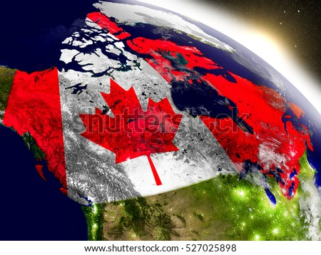 Canada with embedded flag on planet surface during sunrise. 3D illustration with highly detailed realistic planet surface and visible city lights. Elements of this image furnished by NASA.