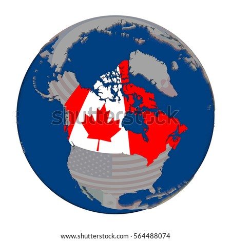 Canada With Embedded National Flag On Political Globe 3d Ilration Isolated On White Background