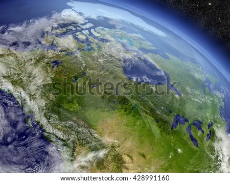Canada with surrounding region as seen from Earth's orbit in space. 3D illustration with highly detailed planet surface and clouds in the atmosphere. Elements of this image furnished by NASA.