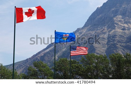 Canadian, Alberta Province and USA Flags