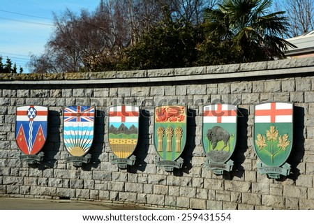 Canadian coats of arms for the Yukon Territory,and the provinces of BC,Alberta,Saskatchewan,Manitoba and Ontario. - stock photo