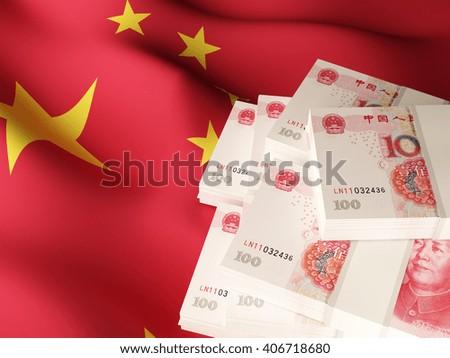 Canadian dollar banknote bundles on textile textured Canada flag. 3d illustration. - stock photo