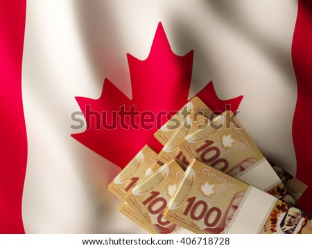 Canadian dollar banknote bundles on textile textured Canada flag. 3d illustration. - stock photo