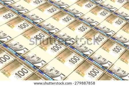 Canadian dollar bills stacks background. - stock photo