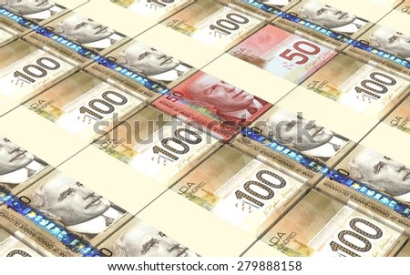 Canadian dollar bills stacks background. - stock photo