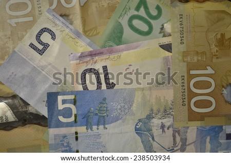 Canadian dollars - stock photo