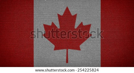 Canadian fabric flags in the background. Canada flag