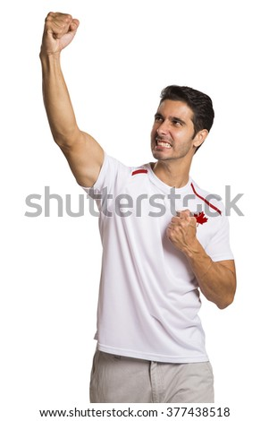 Canadian fan celebrates on white background