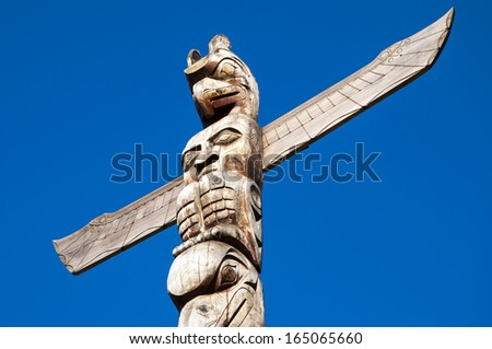 Canadian First Nations Totem Pole - stock photo