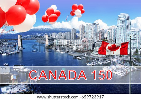 Canadian flag and balloons in front of view of False Creek and the Burrard street bridge in Vancouver, Canada for Canada's 150 Birthday celebration.