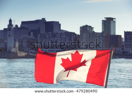Canadian Flag at the front of City View, Montreal, Quebec, Canada